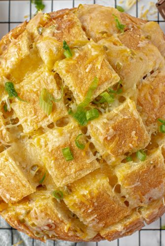 close up of jalapeno cheese bread