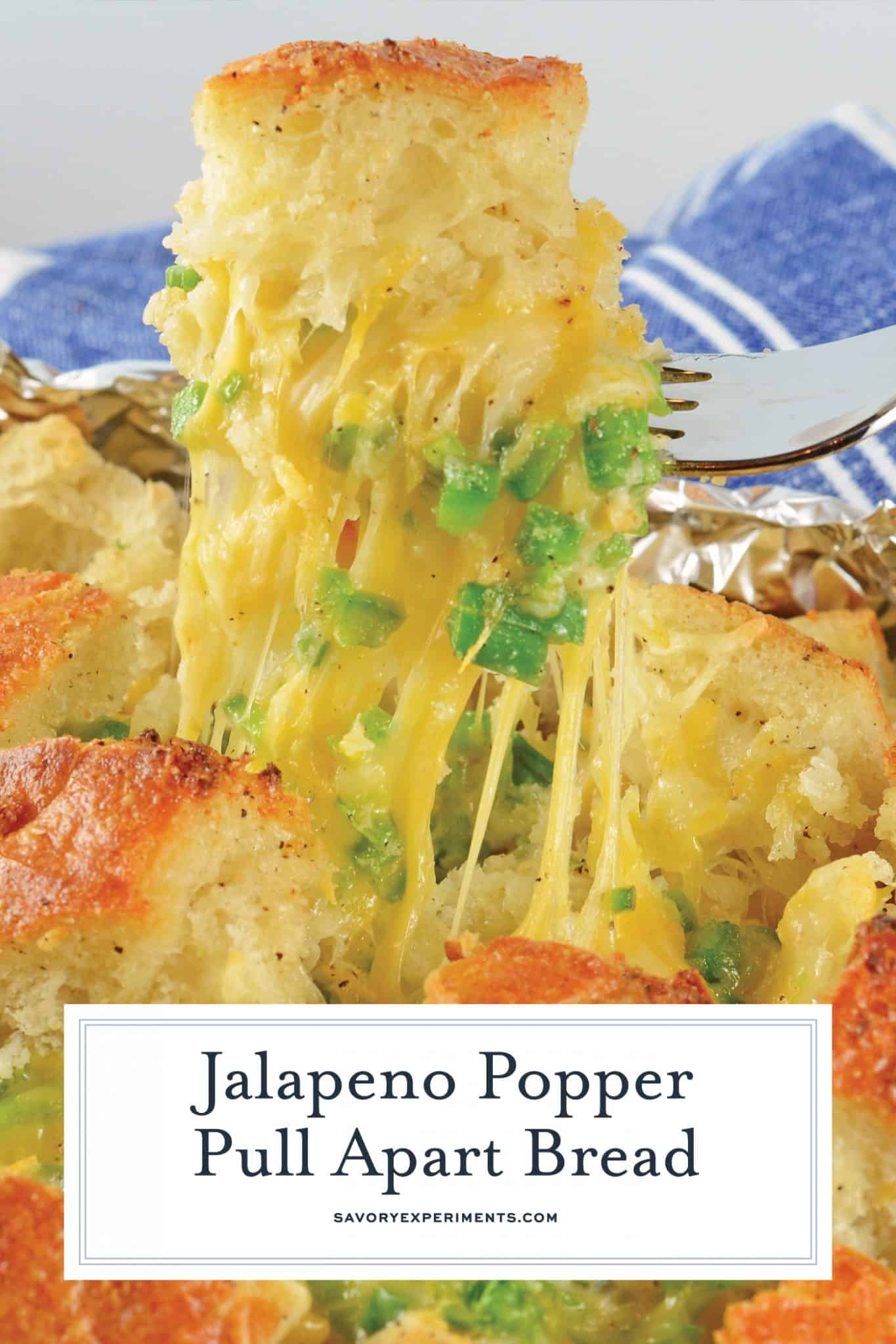 Jalapeno Popper Pull Apart Bread is spicy, cheesy and perfect for any dining occasion. Use it as an appetizer, side dish or a snack! #cheesybread #jalapenopopperbread www.savoryexperiments.com