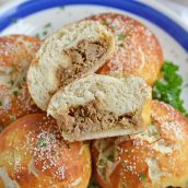 Platter of Pulled Pork Stuffed Pretzel Rolls
