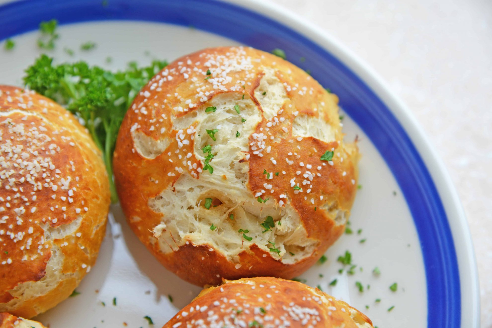Baked Pretzel Roll Topped with Coarse Salt