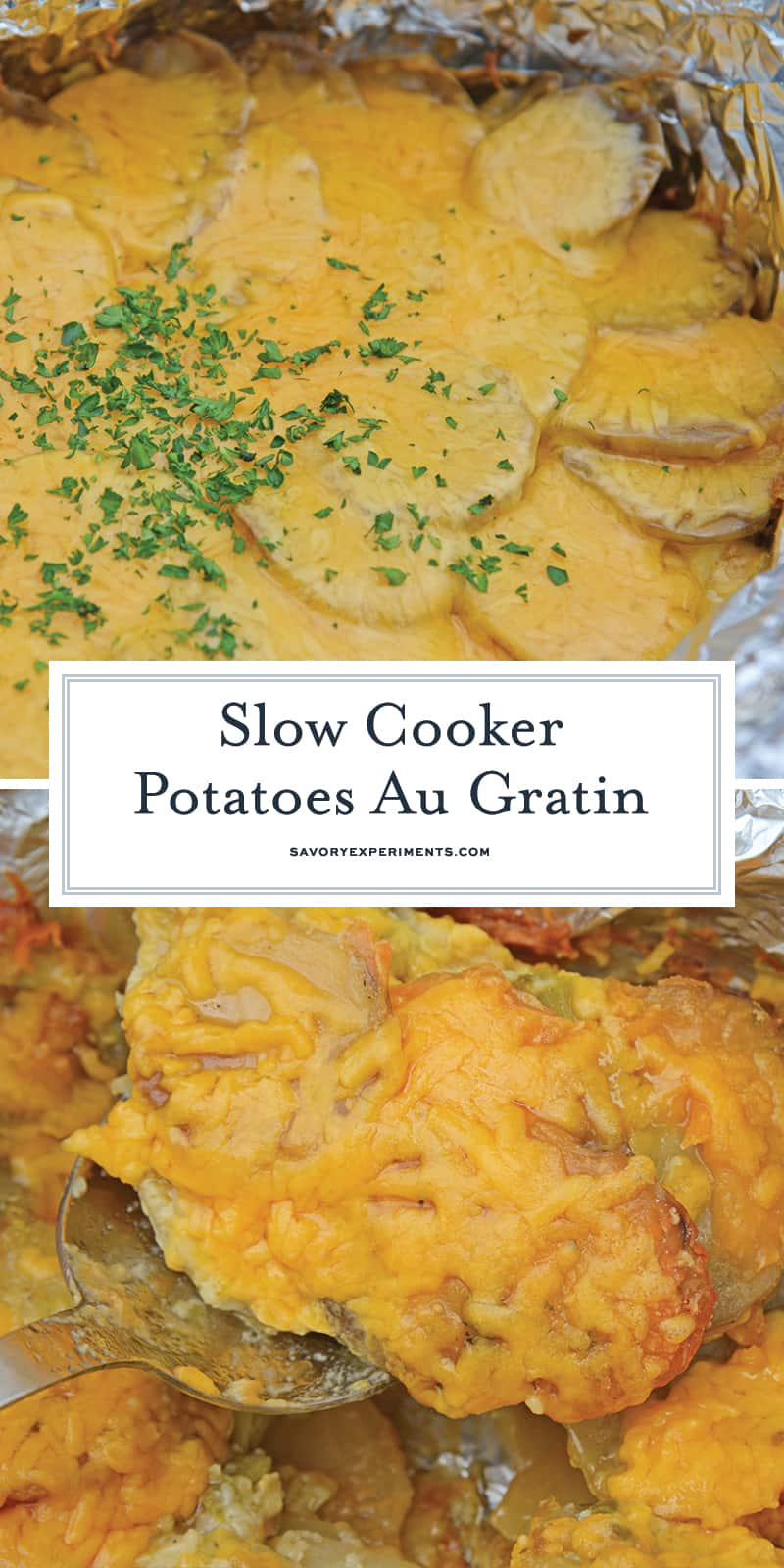 Slow Cooker Potatoes au Gratin are an amazing copycat recipe of Fleming's Steakhouse's potatoes.  Pop it in your slow cooker and reap the cheesy benefits. #slowcookerpotatoesaugratin #potatoesaugratin www.savoryexperiments.com
