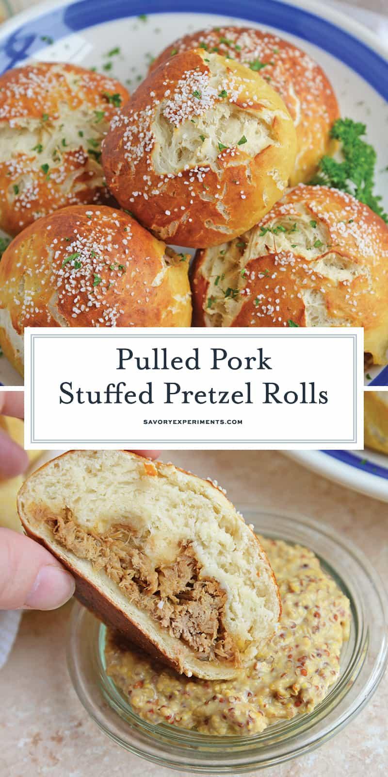Pulled Pork Stuffed Pretzel Rolls for Pinterest