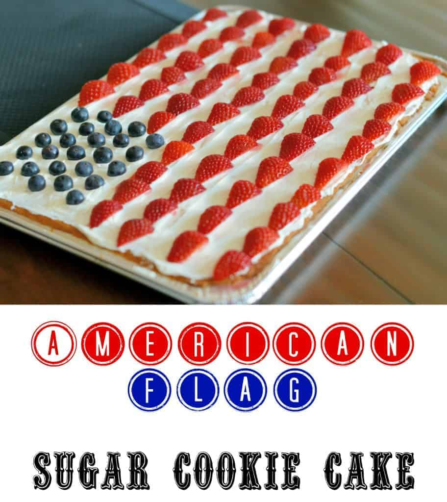 American Flag Sugar Cookie Cake - super simple way to celebrate America! Prepare in a disposable tin to take to parties. | #cookiecake | www.savoryexperiments.com