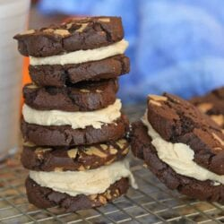 stack of chocolate peanut butter sandwich cookies