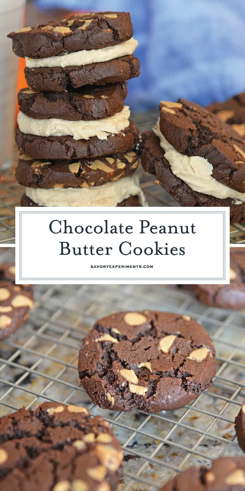 These Chocolate Peanut Butter Cookie Sandwiches are quite possibly the best cookie sandwich you will ever eat. Highly addictive: bake with caution! #chocolatepeanutbuttersandwichcookies #sandwichcookies #peanutbutter www.savoryexperiments.com