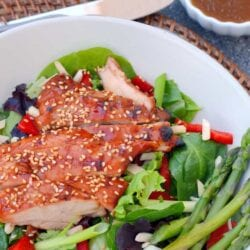 Sticky Chicken Salad is a flavorful, Asian inspired meal ready in just 30 minutes. Delicious, healthy, and great for the whole family. #stickychickensalad #chickensalad www.savoryexperiments.com