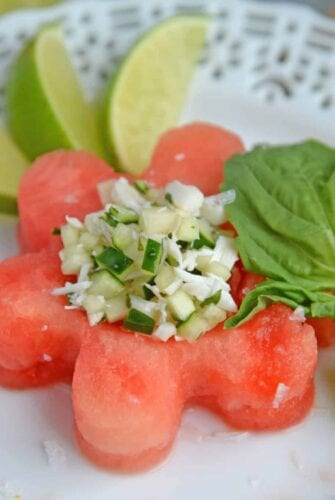 Watermelon Crab Salad is a refreshing, healthy salad complete with crab meat, a touch of heat, and a good dose of watermelon. Perfect for a light lunch! #watermelonsalad #crabmeat #watermelon www.savoryexperiments.com