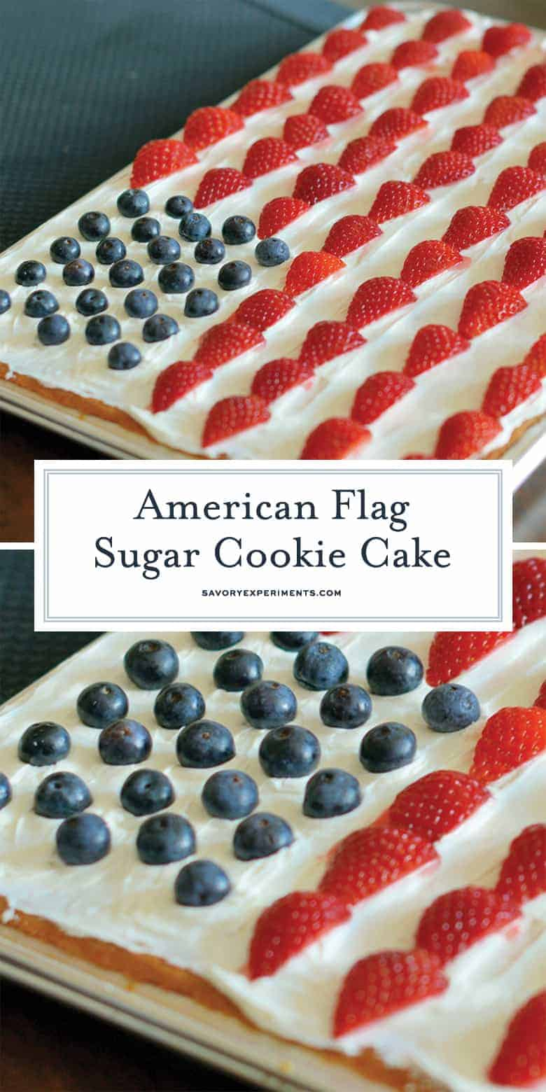 American Flag Sugar Cookie Cake for Pinterest