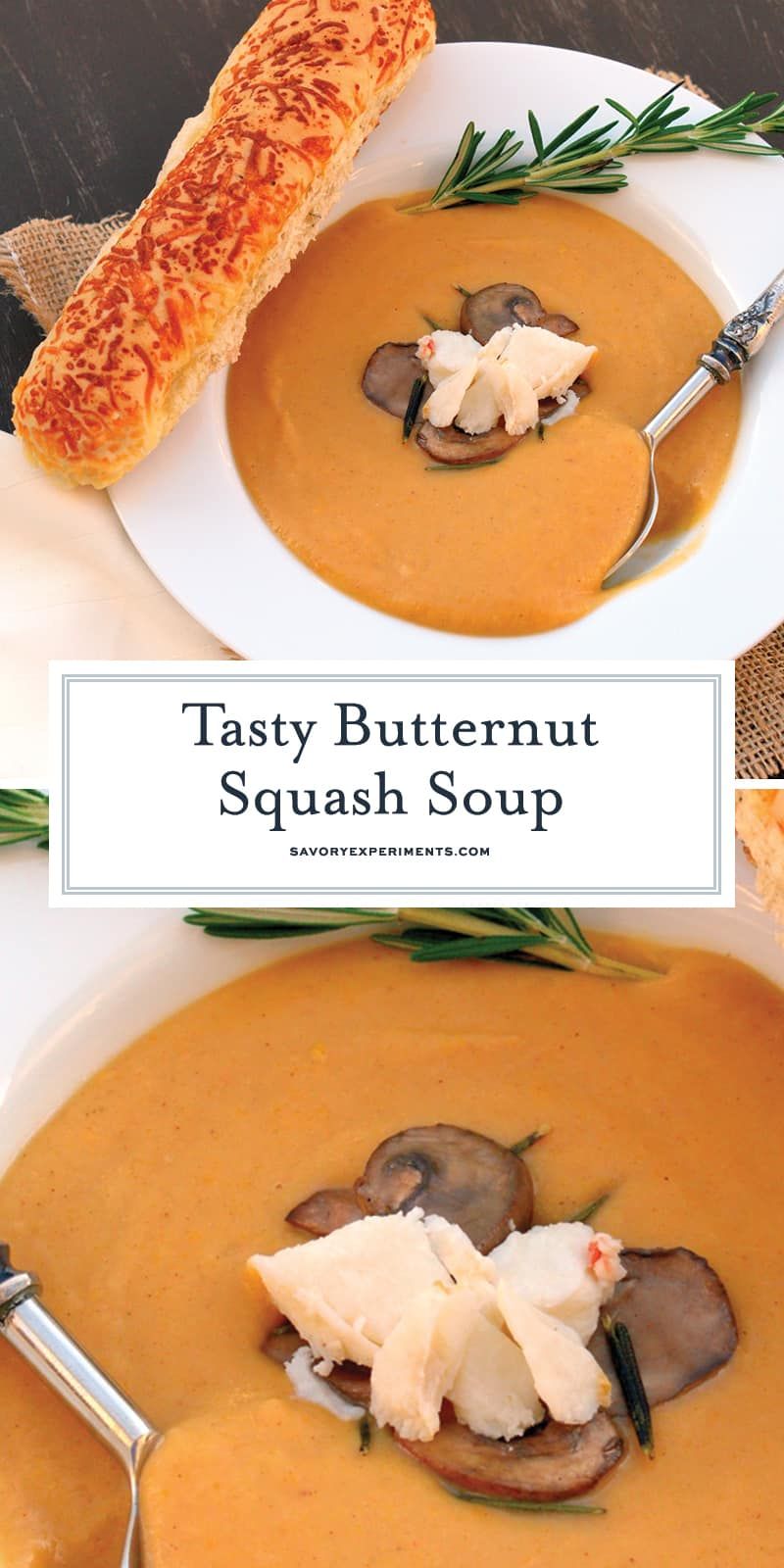 My Butternut Squash Soup recipe is the perfect way to celebrate the spoils of fall all year long. Served hot or chilled, your guests are in for a treat. #butternutsquashsoup #butternutsquash www.savoryexperiments.com