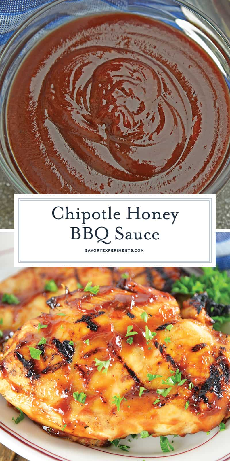 Chipotle Honey BBQ Sauce is a delicious recipe that will leave you with your very own homemade BBQ sauce! Slightly sweet and slightly spicy, it tastes perfect on anything that needs homemade BBQ sauce. #BBQsauce #homemadeBBQsauce www.savoryexperiments.com