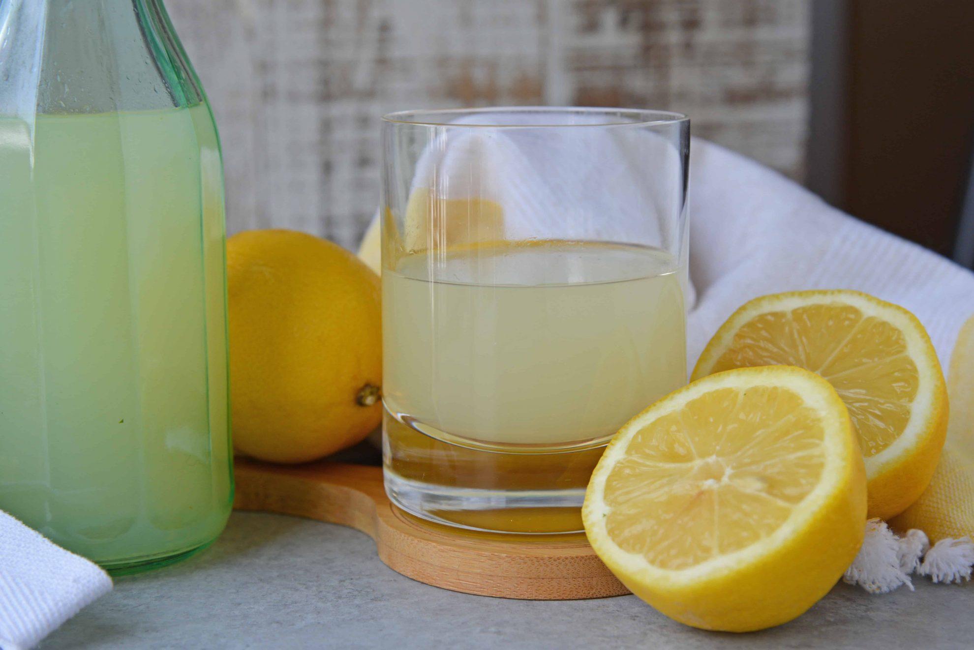 homemade limoncello with fresh lemons