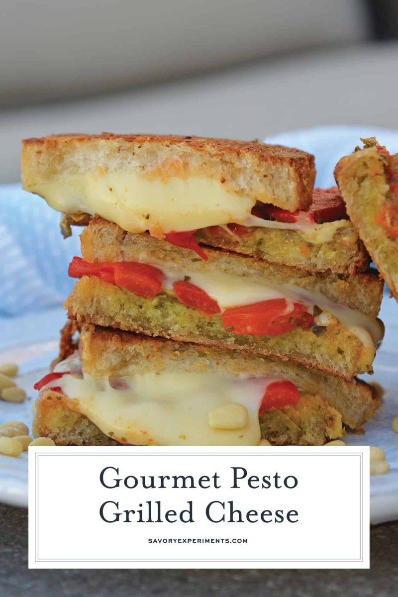 Pesto Grilled Cheese - A Gourmet Grilled Cheese Recipe - Pesto Grilled Cheese is a gooey grilled cheese recipe featuring Jarlsberg cheese, roasted red peppers, pesto, and pine nuts and sourdough bread! #pestogrilledcheese