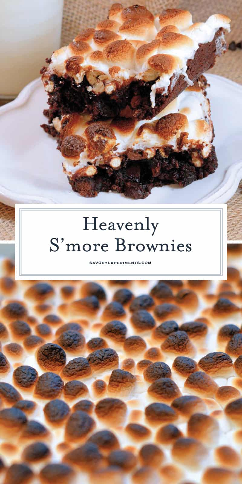 S'more Brownies is a delicious homemade brownie recipe made from double chocolate brownies, a layer of crunchy, salty pretzels and gooey melted marshmallows! #smoresbrownies #homemadebrownies www.savoryexperiments.com