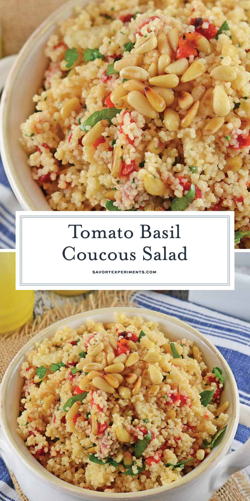 My Tomato Basil Couscous Salad is a great way to liven up any meal. Simple to make and full of flavor, your family will love it! #tomatobasilcouscoussalad #tomatobasil #couscous www.savoryexperiments.com