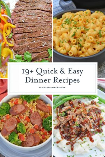 collage of quick dinner recipes