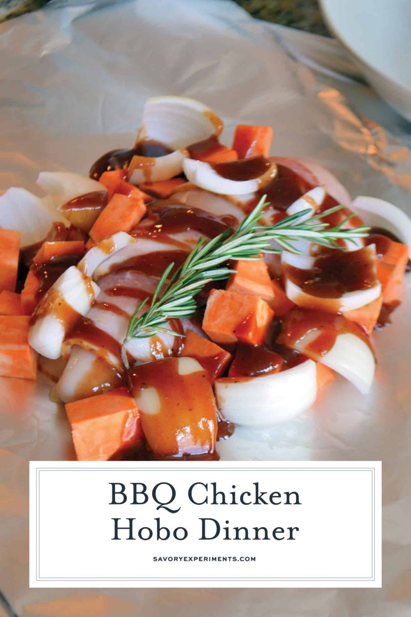 BBQ Chicken Hobo Dinner - BBQ Sweet Potatoes Chicken Foil Packets - This BBQ Chicken Hobo Dinner is a great dinner option for families on the go. These chicken foil packets are packed full of flavor for a weeknight meal! #bbqchickenhobodinner