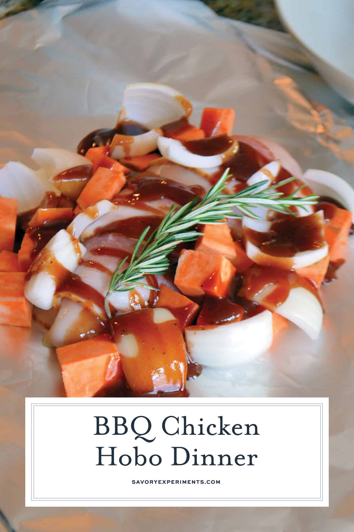 This BBQ Chicken Hobo Dinner is a great dinner option for families on the go. These chicken foil packets are packed full of flavor for a weeknight meal! #hobodinner #chickenfoilpackets #hobopackets www.savoryexperiments.com