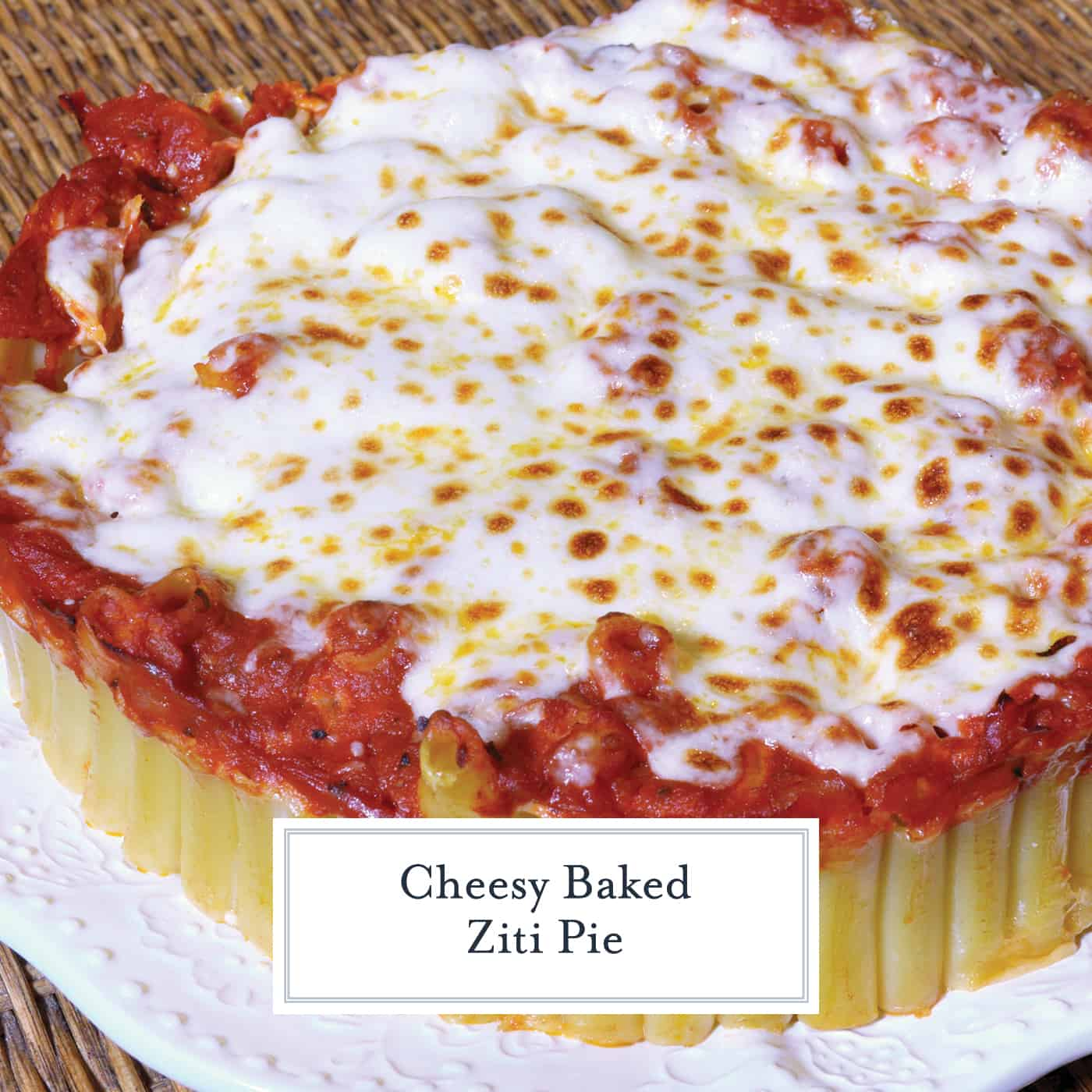Baked Ziti Pie is a new twist on an old classic. Ziti smothered in marinara and cheese, but in pie form! Make with a side of Italian sausage or meatballs. #bakedzitirecipes #howtomakebakedziti www.savoryexperiments.com