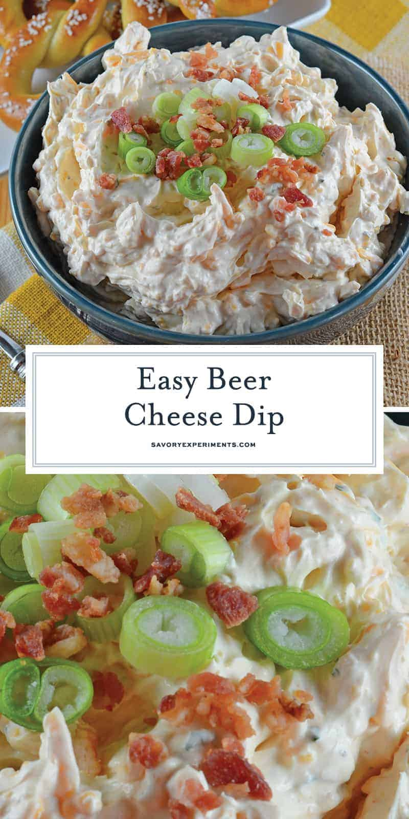 Beer Cheese Dip is an easy, spreadable, zesty pub cheese great for serving with soft pretzels, crackers, carrots, celery sticks or chips! #beercheesedip #beercheesepretzeldip www.savoryexperiments.com