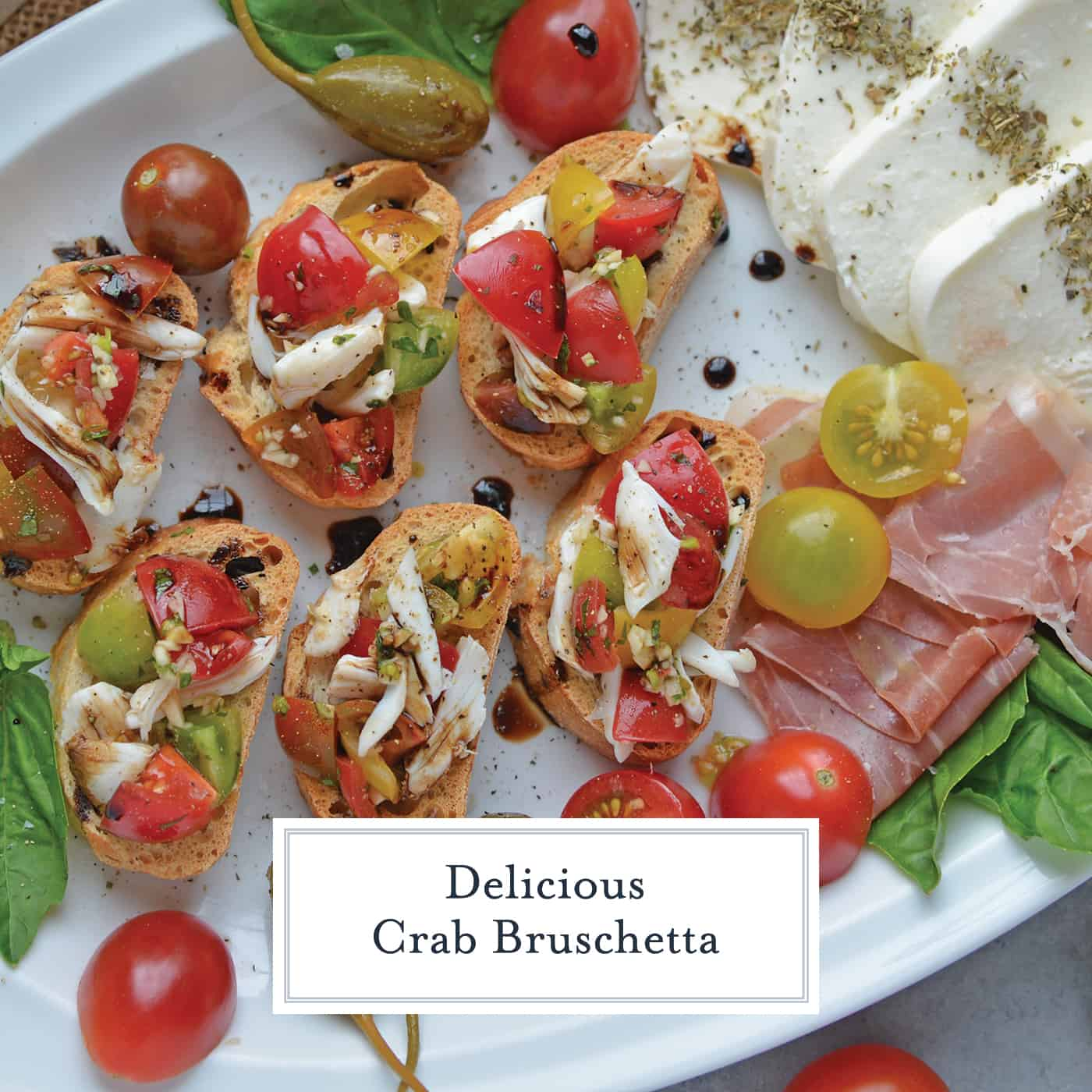 Crab Bruschetta is a mound of fresh tomatoes, garlic basil and buttery crab meat piled high on crispy toast. This is one of the best appetizers out there! #crabbruschetta #easybruschetta www.savoryexperiments.com
