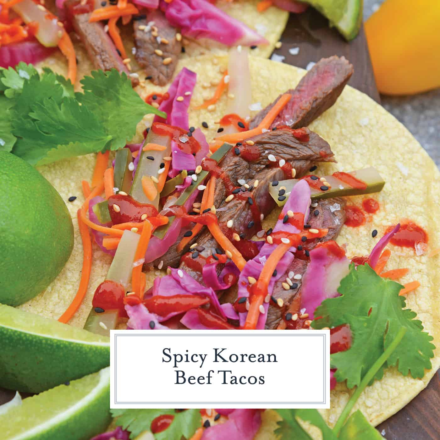 Korean Beef Tacos are stuffed with seasoned bulgogi beef, fresh veggies, and spicy sauce! These are the best Korean tacos you will ever eat! Easy and tasty! #Koreanbeeftacos #bulgogitacos www.savoryexperiments.com