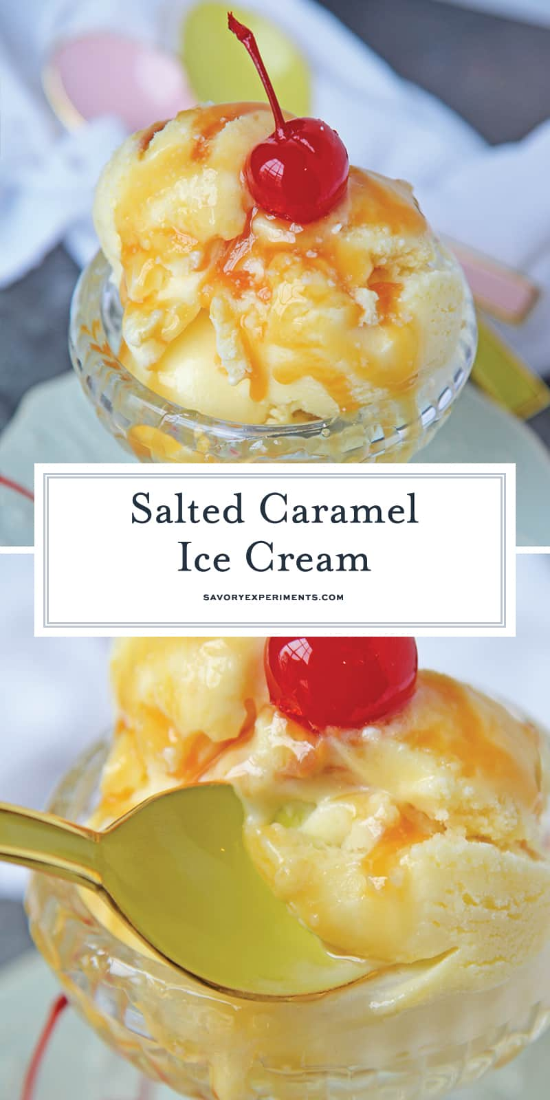 Salted Caramel Ice Cream is what salty sweet goodness dreams are made of! In just 35 minutes you can make your own homemade ice cream at home! #saltedcaramelicecream #homemadeicecream www.savoryexperiments.com