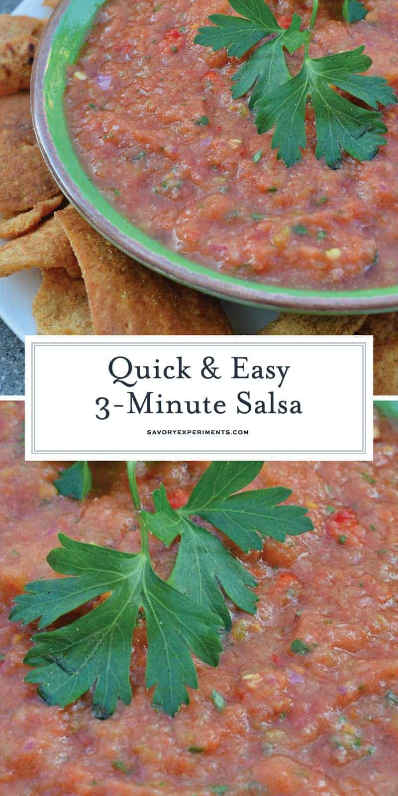 This easy Homemade Salsa recipe is ready in just 3 minutes using a blender. A blend of tomatoes, jalapenos, garlic, onion, cilantro and green chile. #homemadesalsarecipe #salsa www.savoryexperiments.com