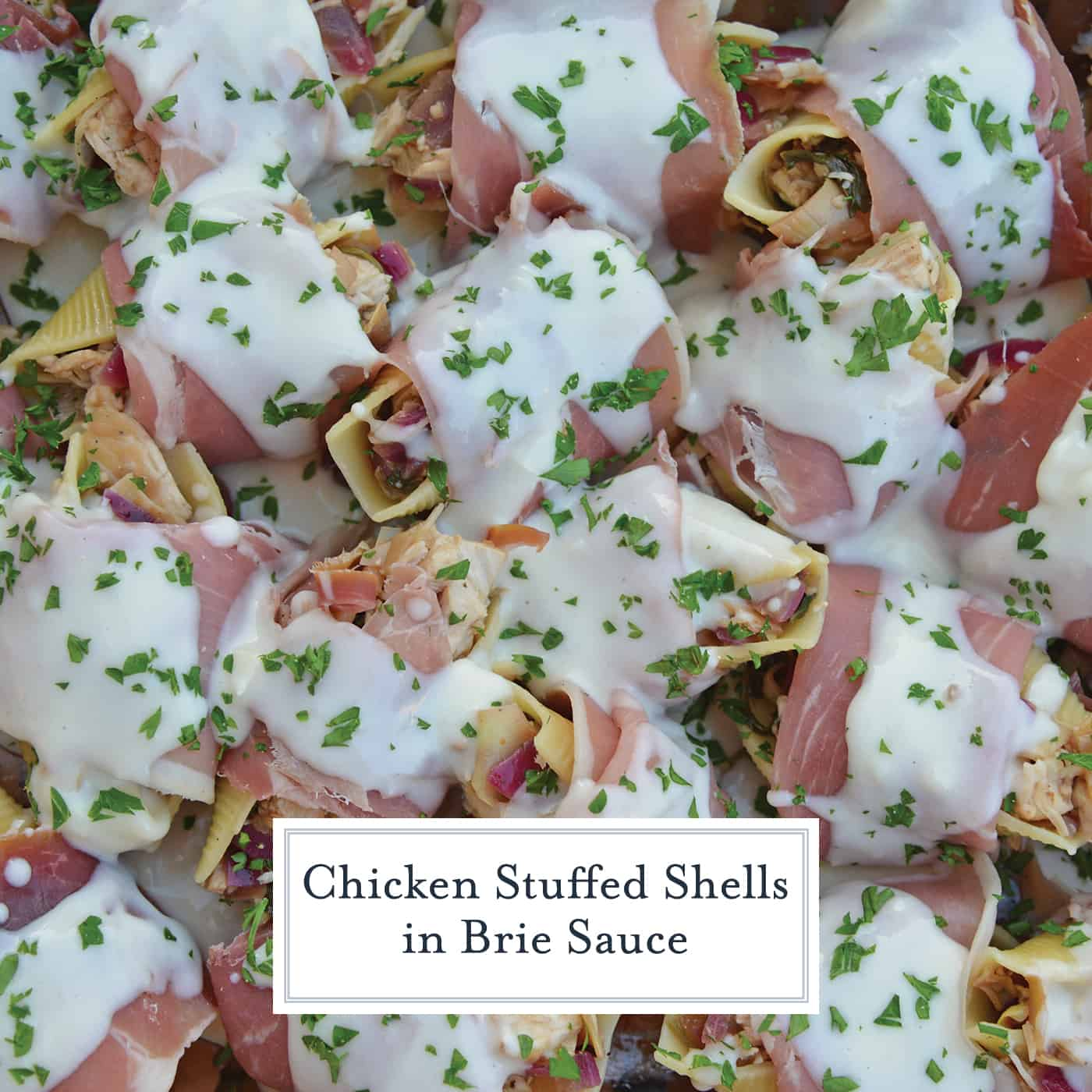 Prosciutto Wrapped Chicken Stuffed Shells and Creamy Brie Sauce is a rich and savory easy dinner you'll want to make again and again! #chickenstuffedshells #stuffedshellsrecipe www.savoryexperiments.com