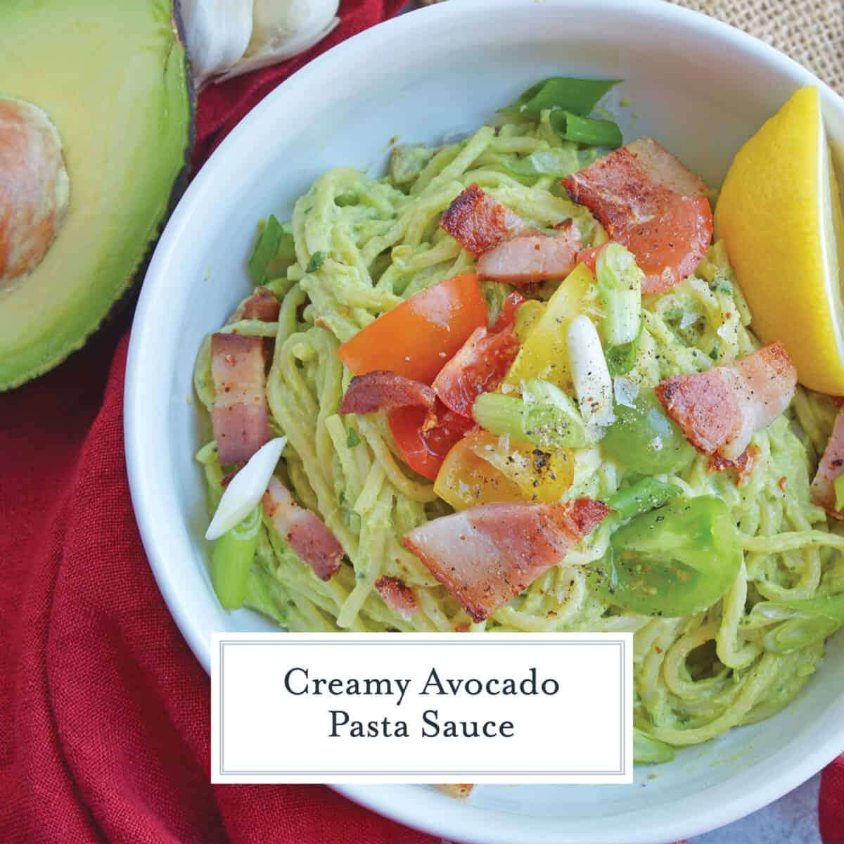 creamy avocado pasta sauce with vegetables