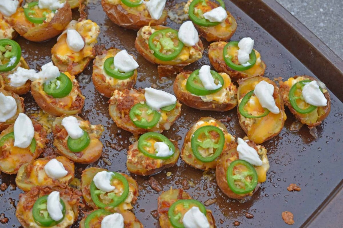Potato skins with jalapeno sour cream and cheese
