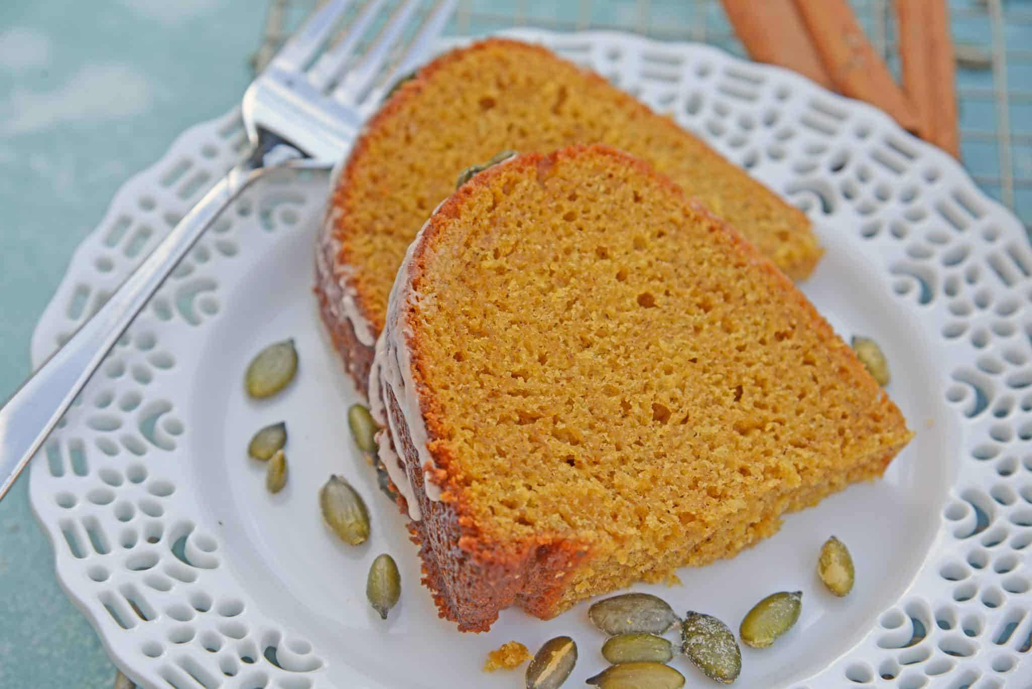 Copycat Starbucks Pumpkin Bread is a moist and flavorful pumpkin pound cake perfect for pairing with a pumpkin spice coffee! #pumpkinbread #pumpkinpoundcake www.savoryexperiments.com