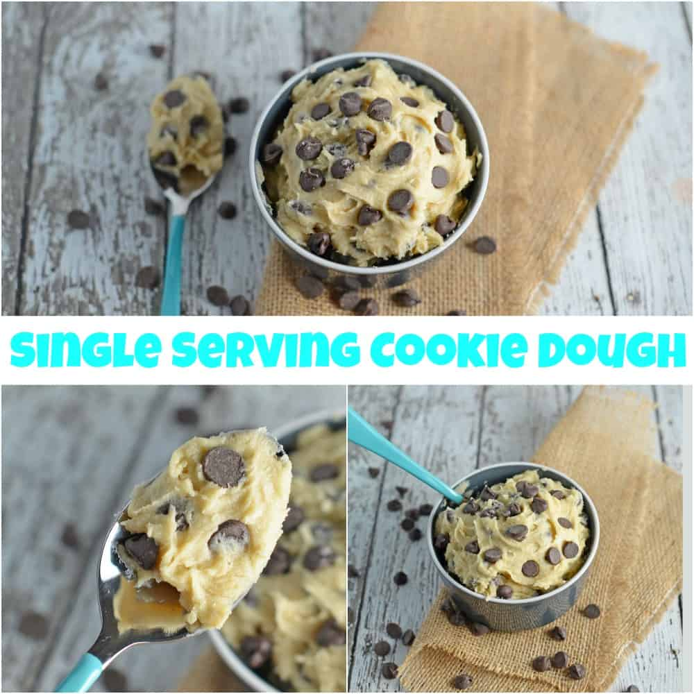 Eggless Single Serving Cookie Dough Recipe- indulge in a small dish of safe-to-eat cookie dough ready in 3 minutes! www.savoryexperiments.com