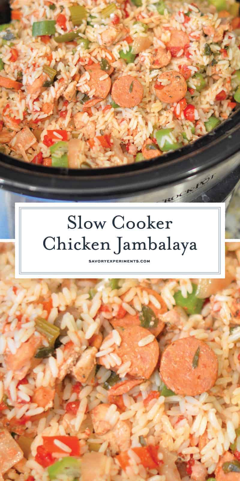 Slow Cooker Chicken Jambalaya is loaded with chicken, veggies, rice and zesty Creole seasoning. Only 10 minutes to prep! #slowcookerrecipes #slowcookerchickenjambalaya #chickenintheslowcooker www.savoryexperiments.com