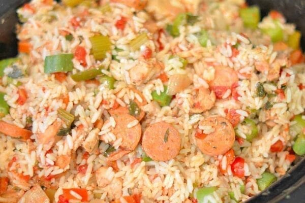 Slow Cooker Chicken Jambalaya Recipe takes only 10 minutes for everything to get in the pot and you have one easy dinner four hours later!