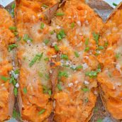 Twice Baked Sweet Potatoes take the deliciousness of whipped sweet potatoes and put them into their own little, serveable boats. #twicebakedpotatoes #sweetpotatoes www.savoryexperiments.com