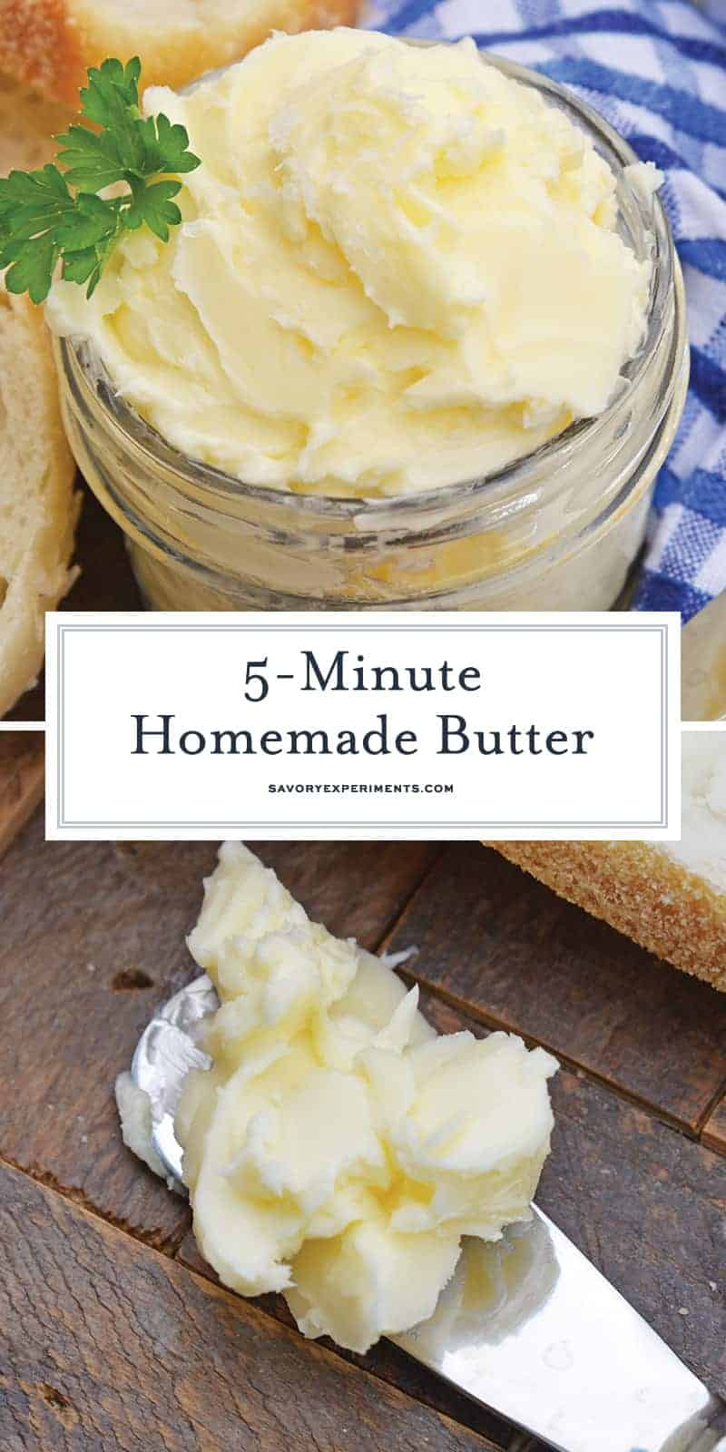 This Homemade Butter Recipe is ready in just 5 minutes using your blender, heavy cream, ice water and salt. You'll wonder why you never made butter at home before! #homemadebutter www.savoryexperiments.com