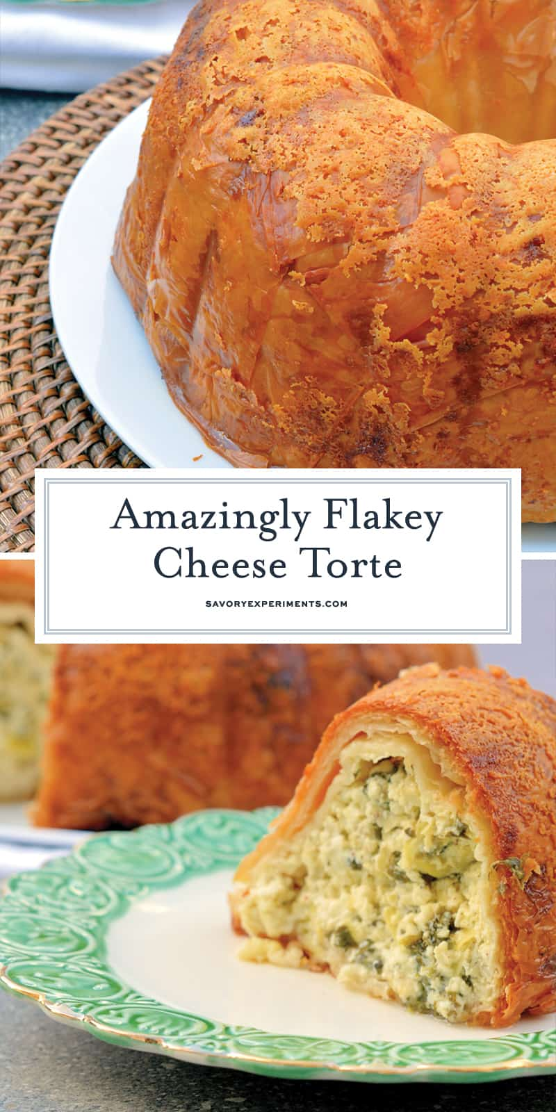 This Cheese Torte combines 3 types of cheese with spinach, artichoke and seasoning in crispy layers of buttery Phyllo dough. The ultimate appetizer, side dish or brunch dish! #cheesetorte #spinachandartichoke www.savoryexperiments.com