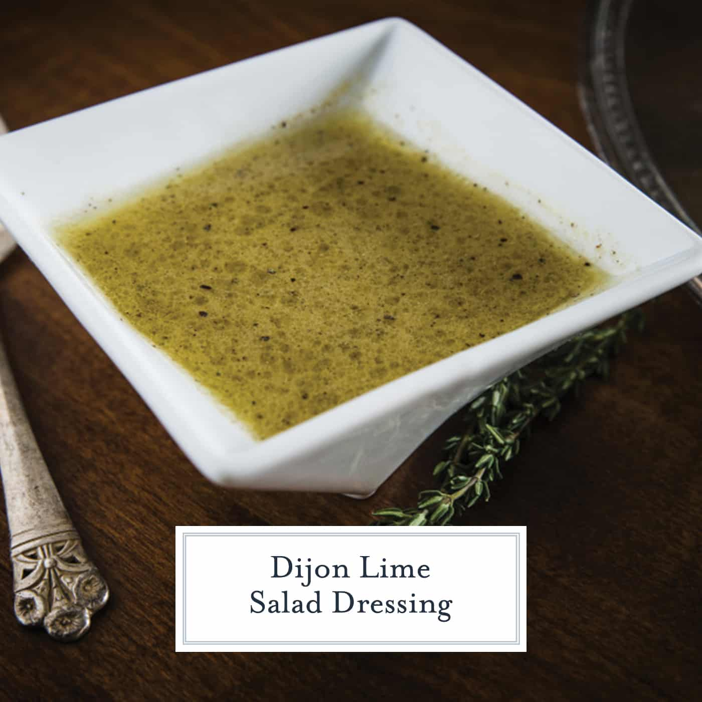 Dijon Lime Salad Dressing is an easy homemade salad dressing with citrus flavors and tangy Dijon mustard. Use on your favorite salad, as a marinade or on grilled or roasted vegetables. #homemadesaladdressing www.savoryexperiments.com