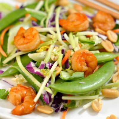 Ginger Bok Choy Salad with Soy Lime Shrimp- Healthy, convenient and delicious dinner ready in 20 minutes! #eatsmartveggies #salad #shrimp