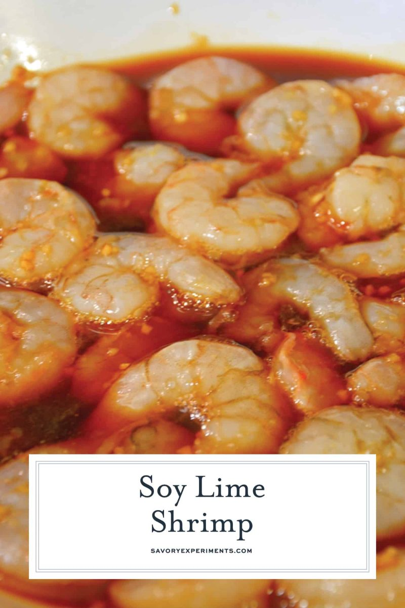 Soy Lime Shrimp is an easy shrimp recipe with loads of a flavor and only 5 ingredients. Grill or saute your shrimp and serve on a salad, as a side or eat on their own! #shrimpmarinade www.savoryexperiments.com