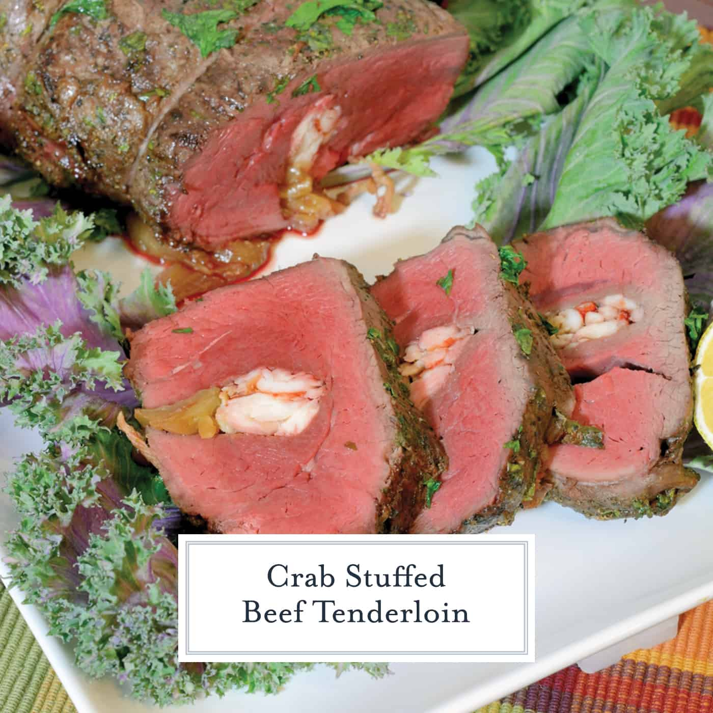 Crab Stuffed Beef Tenderloin takes a tenderloin and fills the center with buttered crab and caramelized onions, then baked to perfection with a black pepper bark.#beeftenderloinrecipe www.savoryexperiments.com