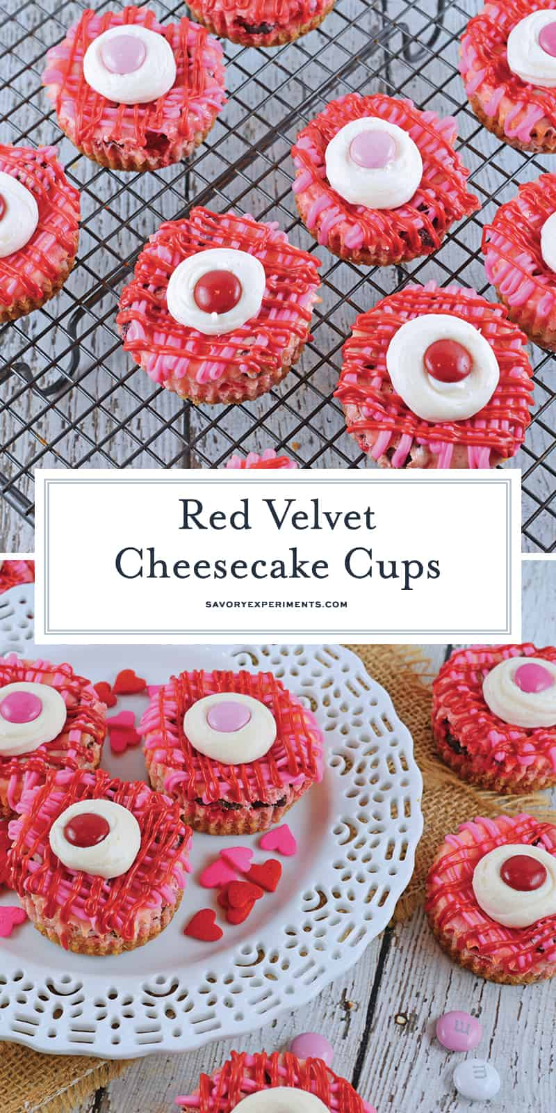 Red Velvet Cheesecake Cups are mini bites of creamy cheesecake with a vanilla cookie crust. Topped with a drizzle of chocolate, cream cheese frosting and red velvet M&Ms. #redvelvet #cheesecakecups www.savoryexperiments.com