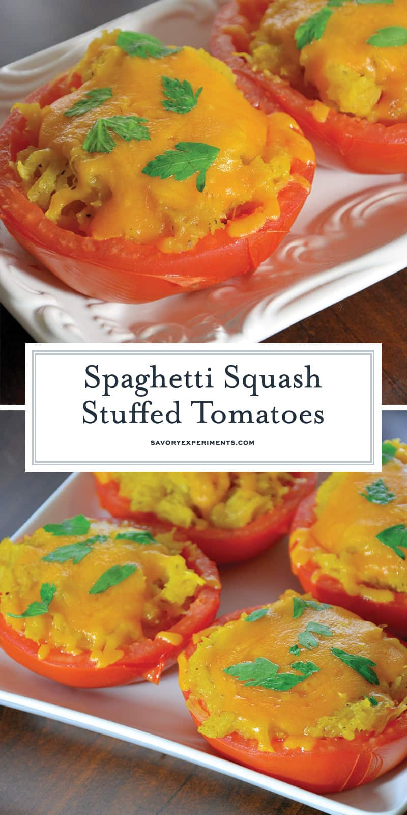 Spaghetti Squash Stuffed Tomatoes are juicy hallowed out tomatoes filled with spaghetti squash and topped with gooey cheddar cheese. The perfect low carb side dish! #lowcarbsidedish #tomatorecipes #spaghettisquashrecipes www.savoryexperiments.com