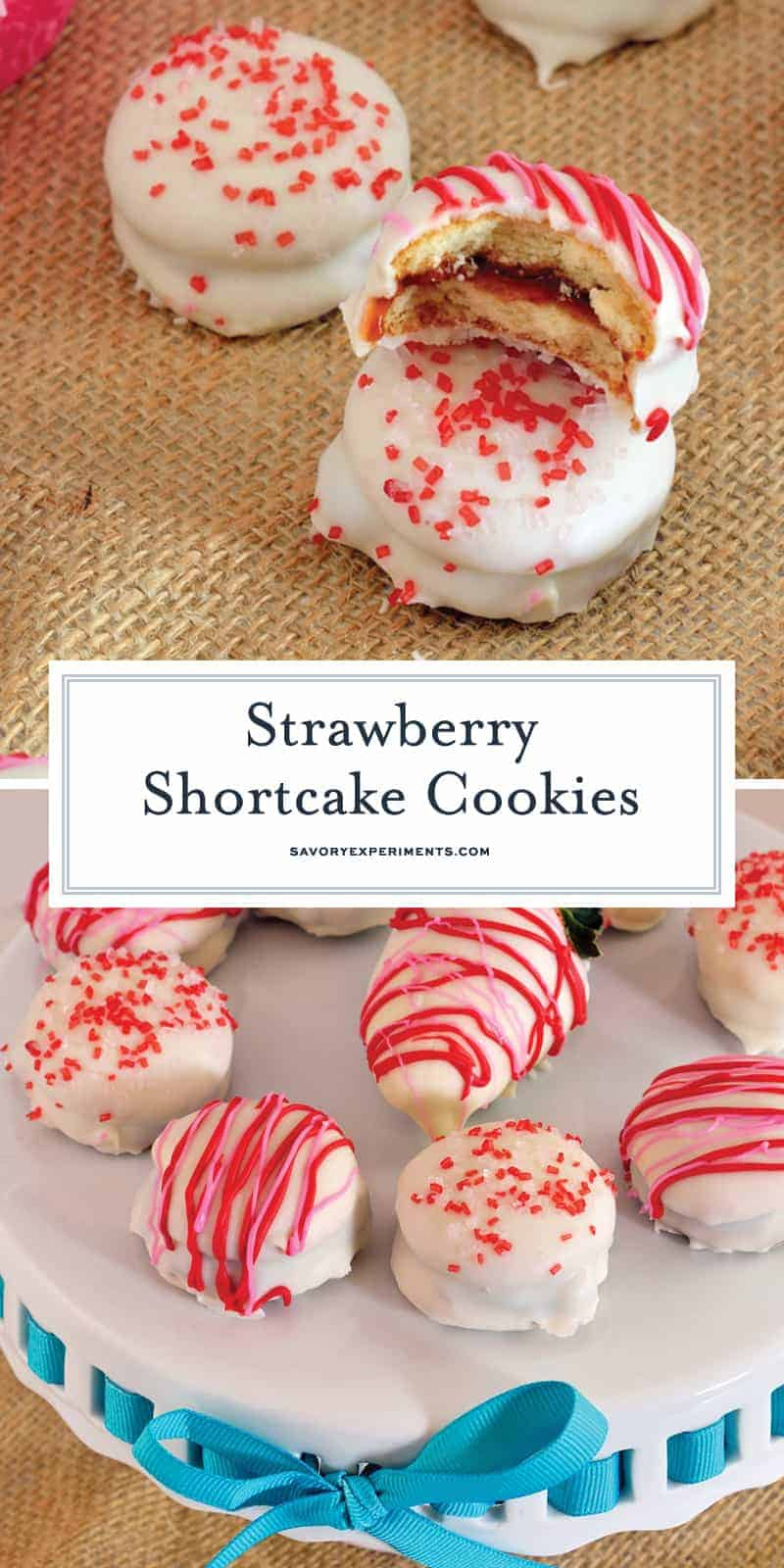 Strawberry Shortcake Cookies are a easy to make no-bake cookies that sandwich vanilla wafers with jam and are then dipped in white chocolate. #nobakecookies #strawberryshortcakecookies www.savoryexperiments.com