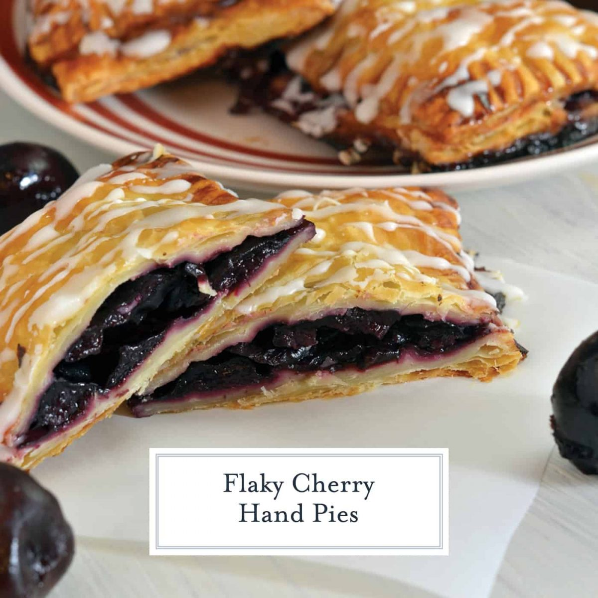 Cherry Hand Pies use 6 easy ingredients to make a quick and delicious cherry dessert. Can be made with fresh or frozen cherries. #cherryhandpies #handpierecipe www.savoryexperiments.com