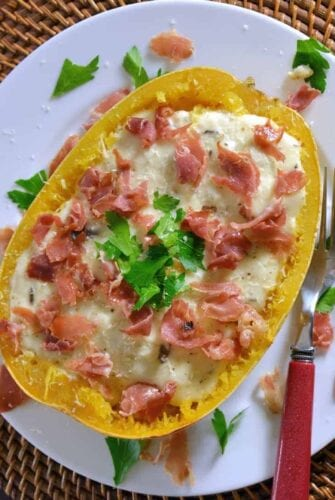 Spaghetti Squash with Crispy Prosciutto and Creamy Brie Sauce Recipe