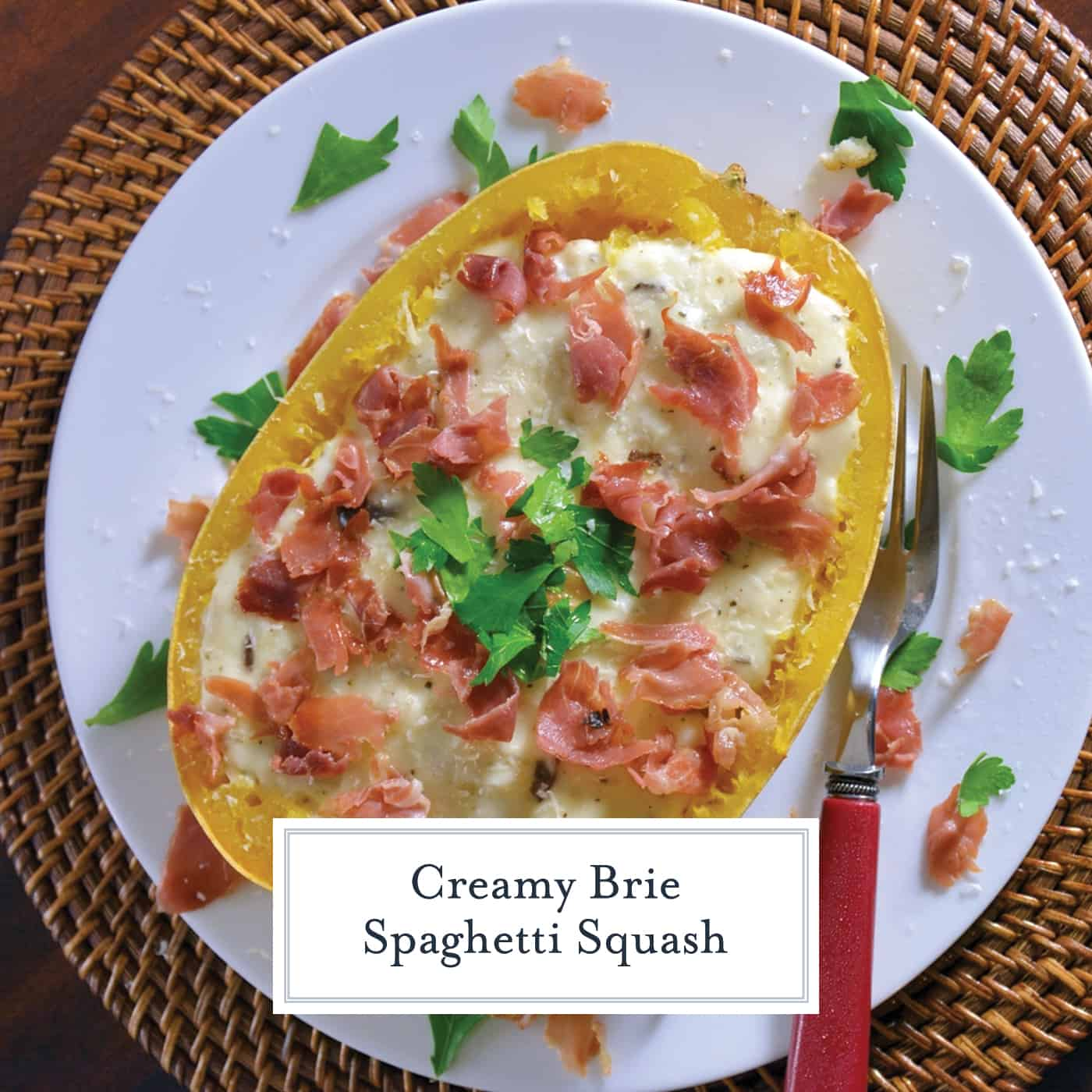 Creamy Brie Spaghetti Squash uses the tender golden strands of baked spaghetti squash and pairs them with a decedent brie sauce, mushrooms and crispy prosciutto. #bakedspaghettisquash #briesauce www.savoryexperiments.com