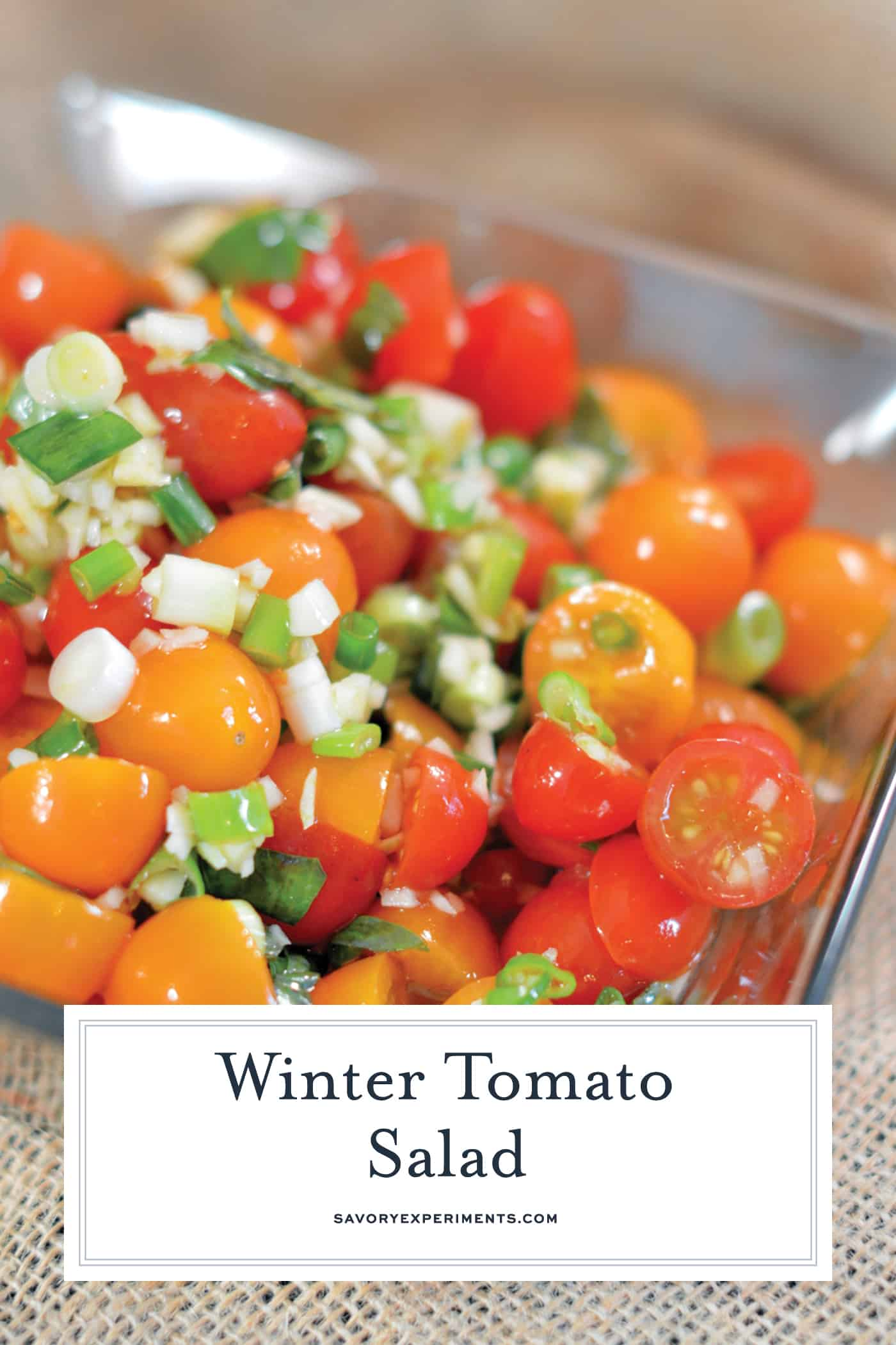 Winter Tomato Salad uses multi-colored cherry tomatoes, lots of garlic, good olive oil and basil to make a tasty side dish recipe perfect for the winter months.#tomatosalad #tomatosidedishes www.savoryexperiments.com