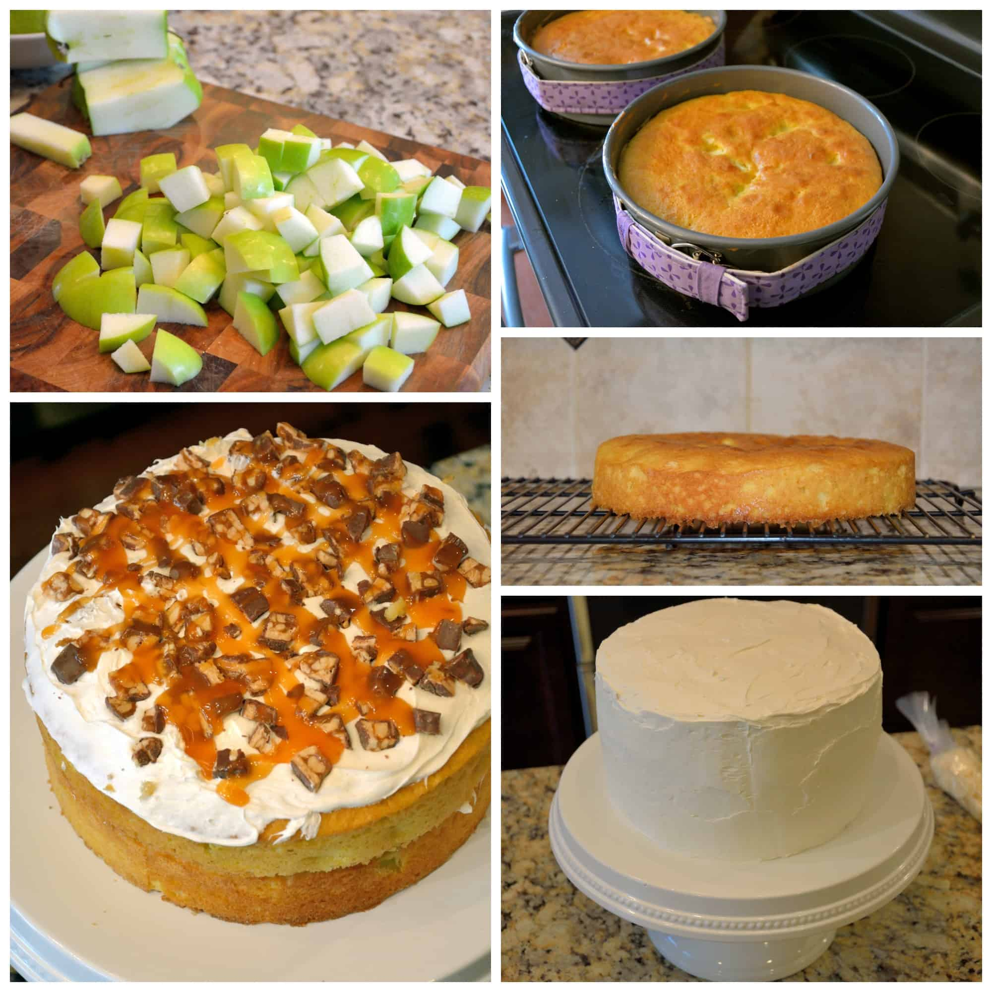 Caramel Apple Cake with SNICKERS® is a three layer yellow cake with baked apples, frosting, caramel, white and milk chocolate, and lots of SNICKERS®. #caramelapple #cake #snickers www.savoryexperiments.com