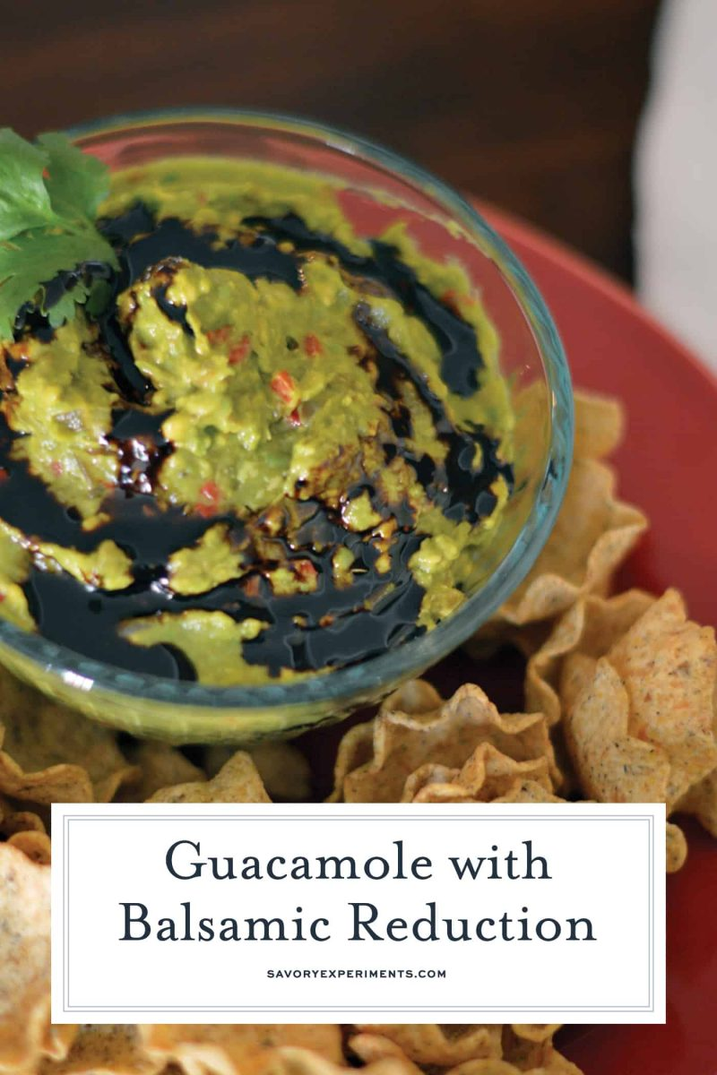 Bowl of guacamole with balsamic reduction